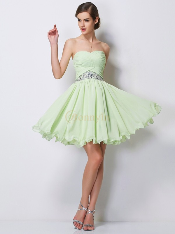 Sage Chiffon Sweetheart A-Line/Princess Short/Mini Cocktail Dresses