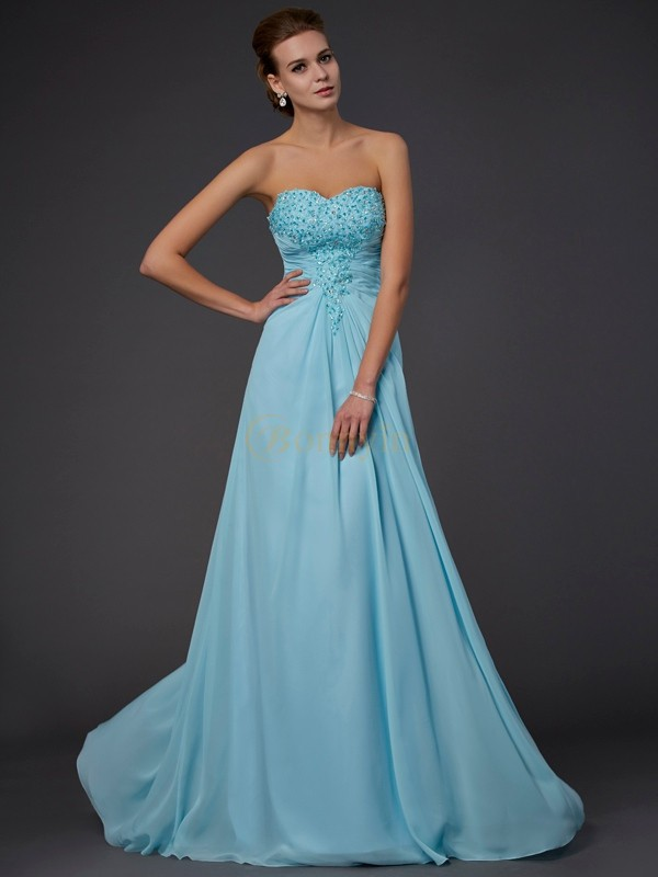 Light Sky Blue Chiffon Sweetheart Sheath/Column Floor-Length Dresses