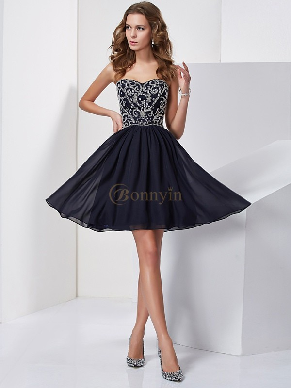 Dark Navy Chiffon Sweetheart A-Line/Princess Short/Mini Cocktail Dresses