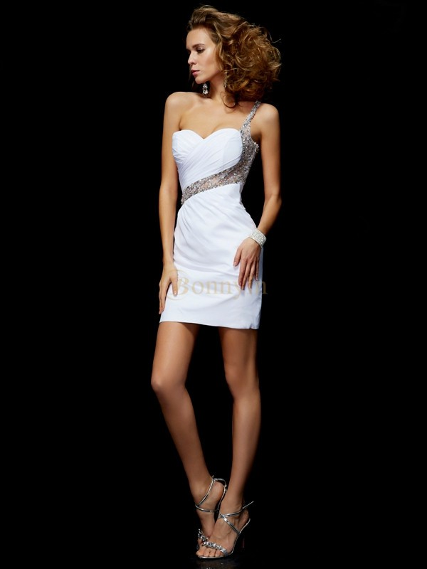 White Chiffon One-Shoulder A-Line/Princess Short/Mini Cocktail Dresses