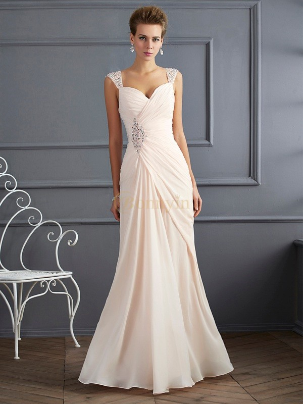 Champagne Chiffon Straps Sheath/Column Floor-Length Dresses