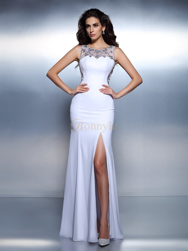 White Chiffon Bateau Trumpet/Mermaid Floor-Length Dresses