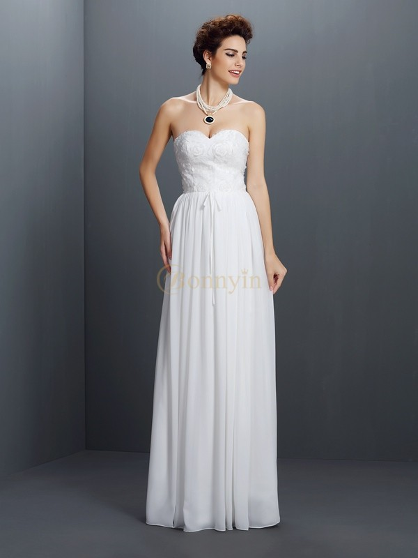 Ivory Chiffon Sweetheart A-Line/Princess Floor-Length Dresses
