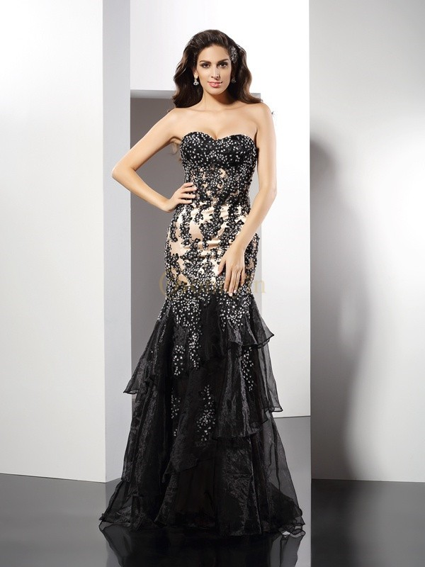 Black Elastic Woven Satin Sweetheart Sheath/Column Floor-Length Dresses