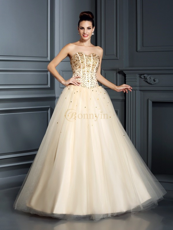 Champagne Satin Sweetheart Ball Gown Floor-Length Prom Dresses