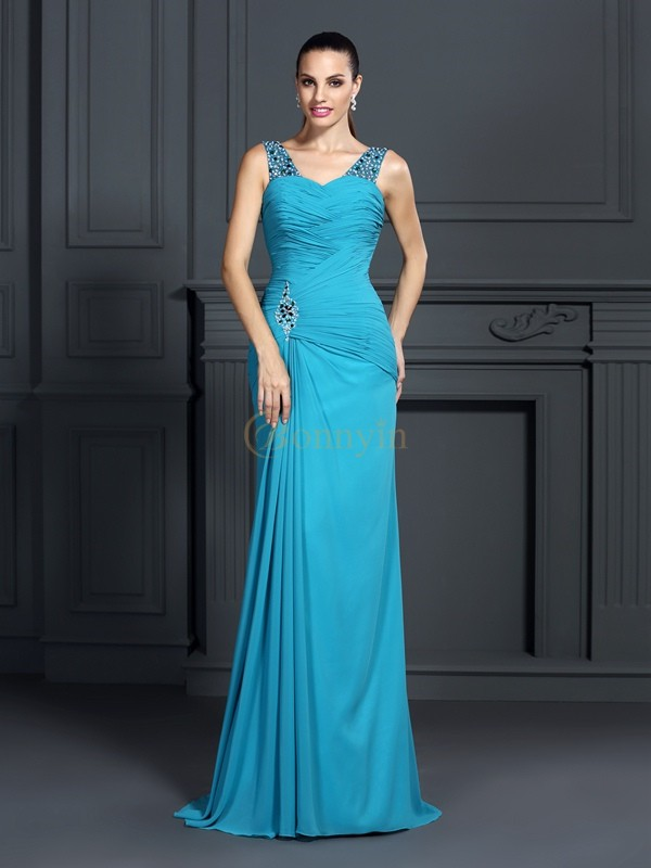 Blue Chiffon Straps Trumpet/Mermaid Sweep/Brush Train Dresses