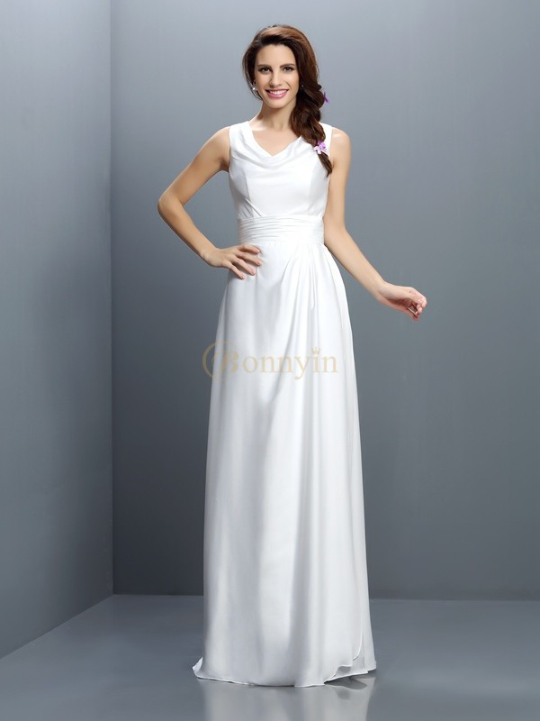 White Chiffon V-neck Sheath/Column Floor-Length Bridesmaid Dresses