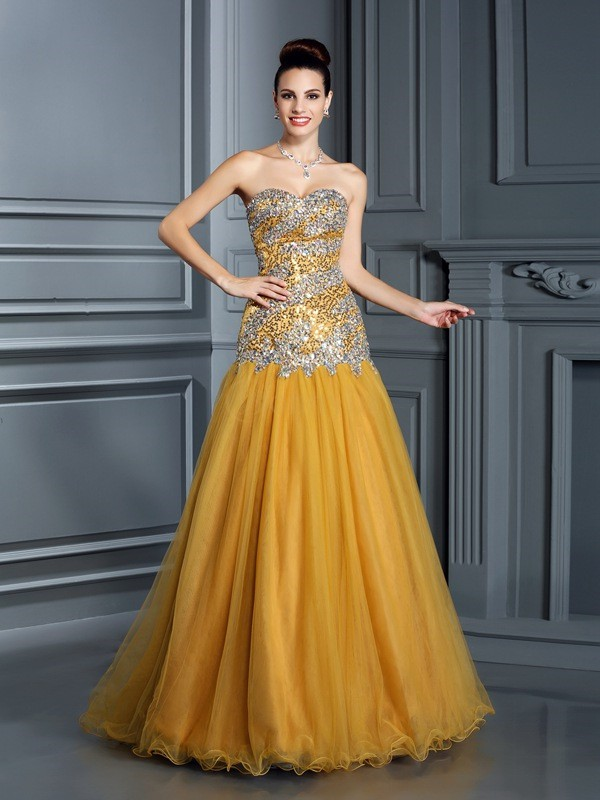 Yellow Satin Sweetheart A-Line/Princess Floor-Length Dresses