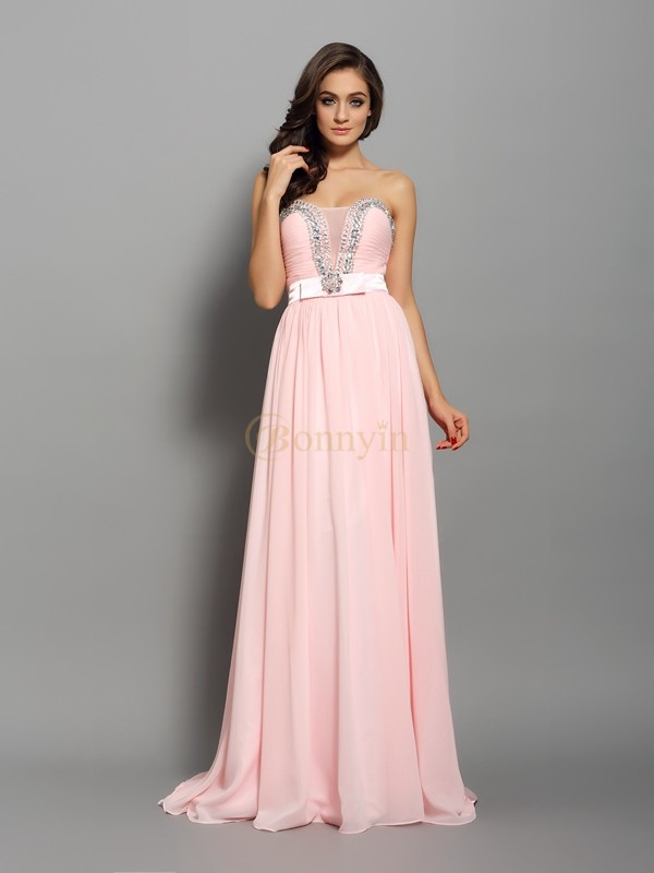 Pink Chiffon Sweetheart A-Line/Princess Sweep/Brush Train Dresses