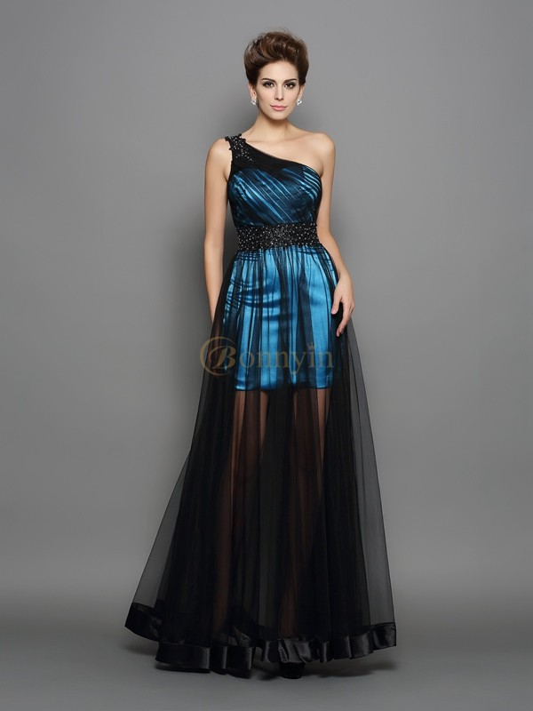 Black Elastic Woven Satin One-Shoulder A-Line/Princess Floor-Length Prom Dresses