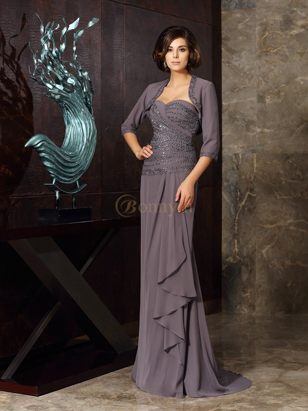 Grey Chiffon Sweetheart Sheath/Column Floor-Length Mother of the Bride Dresses