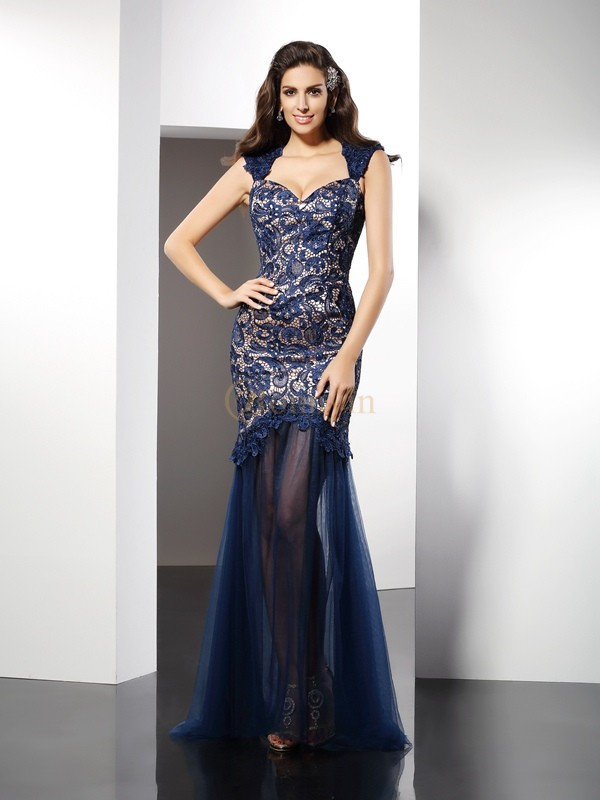 Dark Navy Net Sweetheart Trumpet/Mermaid Sweep/Brush Train Dresses