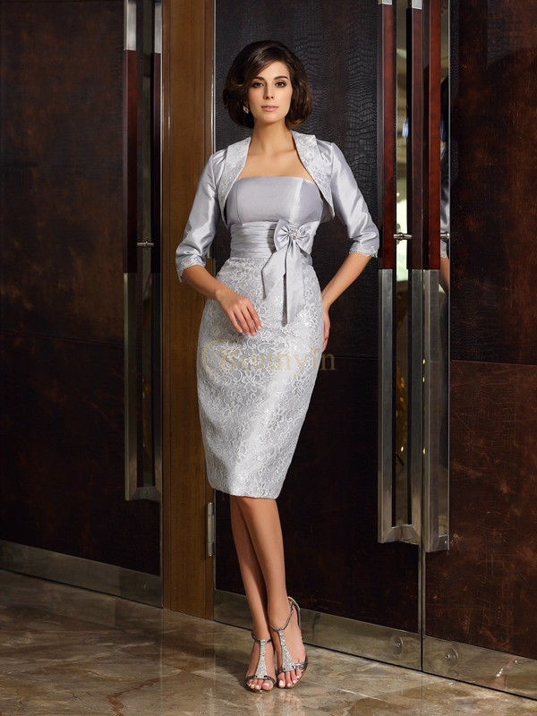 Silver Taffeta Strapless Sheath/Column Knee-Length Mother of the Bride Dresses