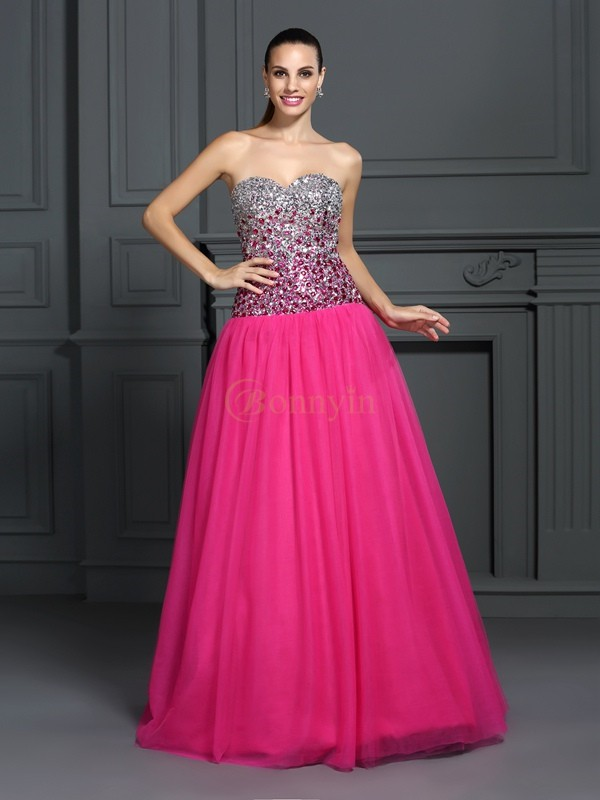 Pink Organza Sweetheart Ball Gown Floor-Length Prom Dresses