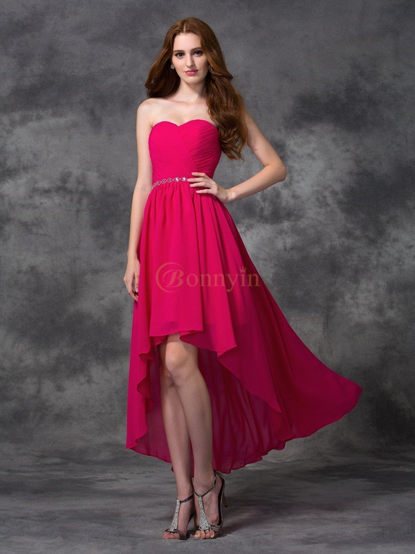 Fuchsia Chiffon Sweetheart A-line/Princess Asymmetrical Bridesmaid Dresses