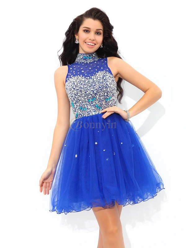 Royal Blue Net High Neck A-Line/Princess Short/Mini Cocktail Dresses