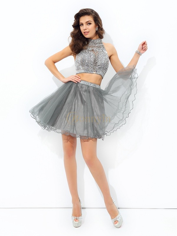 Grey Net High Neck A-line/Princess Short/Mini Cocktail Dresses