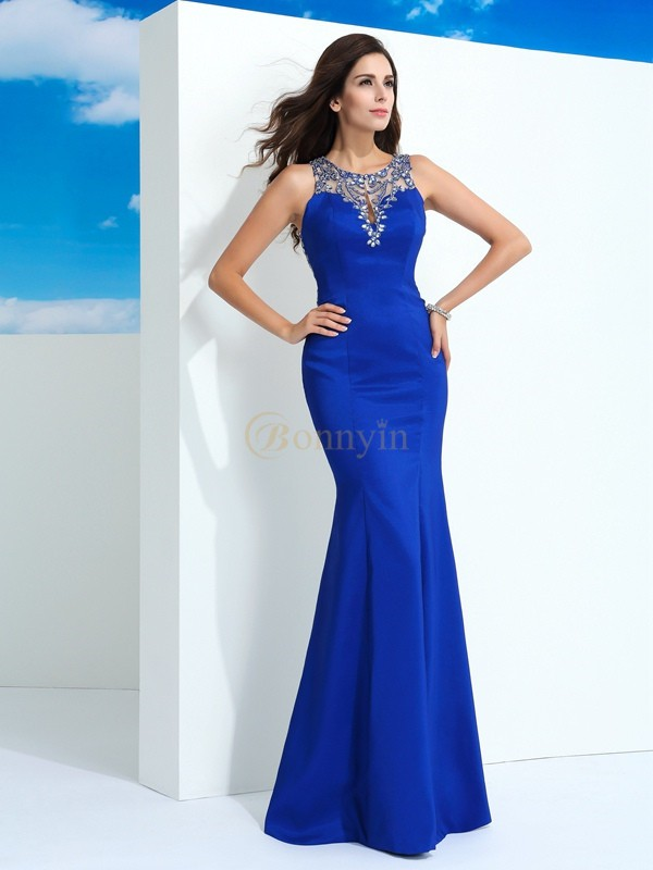 Royal Blue Chiffon Sheer Neck Sheath/Column Floor-Length Evening Dresses