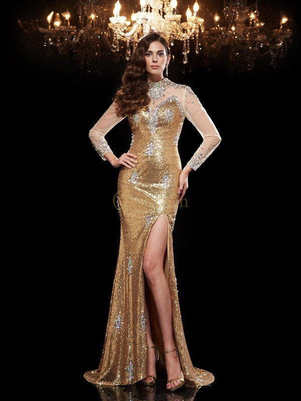 Gold Sequins High Neck Trumpet/Mermaid Sweep/Brush Train Evening Dresses