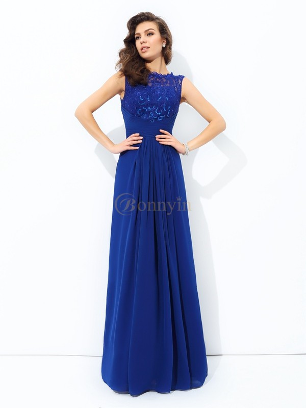 Royal Blue Chiffon Scoop A-line/Princess Floor-length Evening Dresses