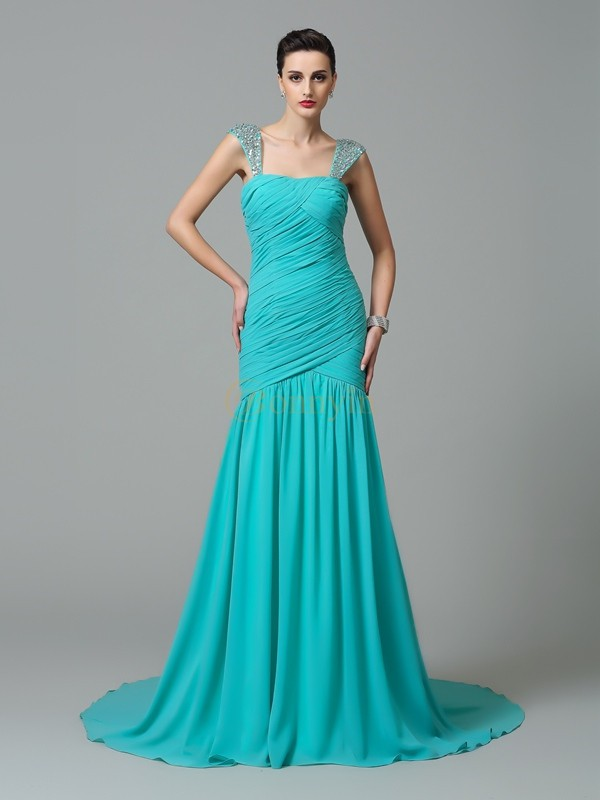 Green Chiffon Straps A-Line/Princess Court Train Evening Dresses