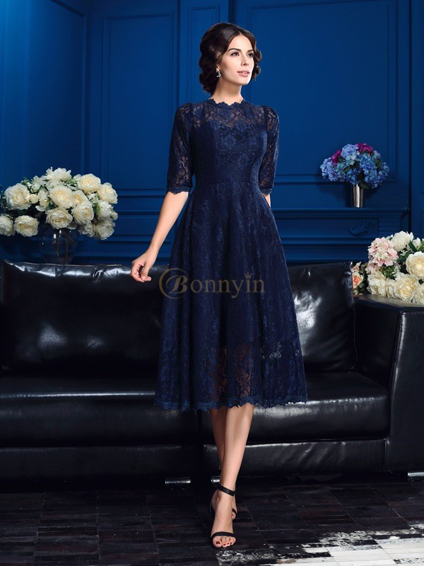 Dark Navy Lace Jewel A-Line/Princess Knee-Length Mother of the Bride Dresses