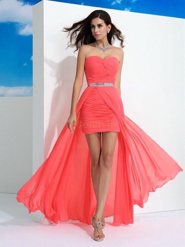 Watermelon Chiffon Sweetheart Sheath/Column Floor-Length Prom Dresses