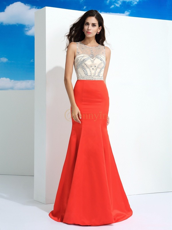 Watermelon Satin Sheer Neck Trumpet/Mermaid Floor-Length Prom Dresses