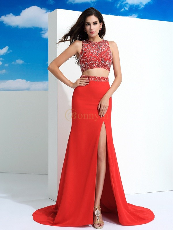 Red Chiffon Scoop Sheath/Column Court Train Prom Dresses