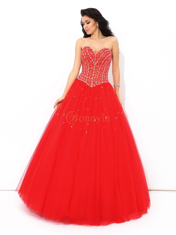 Red Net Sweetheart Ball Gown Floor-Length Quinceanera Dresses