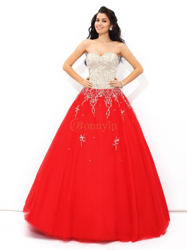 Red Satin Sweetheart Ball Gown Floor-Length Quinceanera Dresses