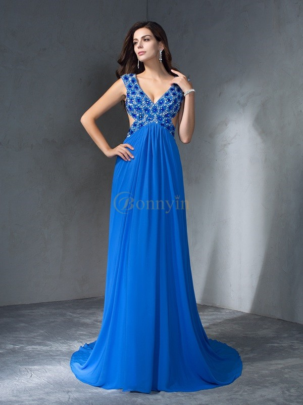 Blue Chiffon V-neck A-Line/Princess Sweep/Brush Train Prom Dresses