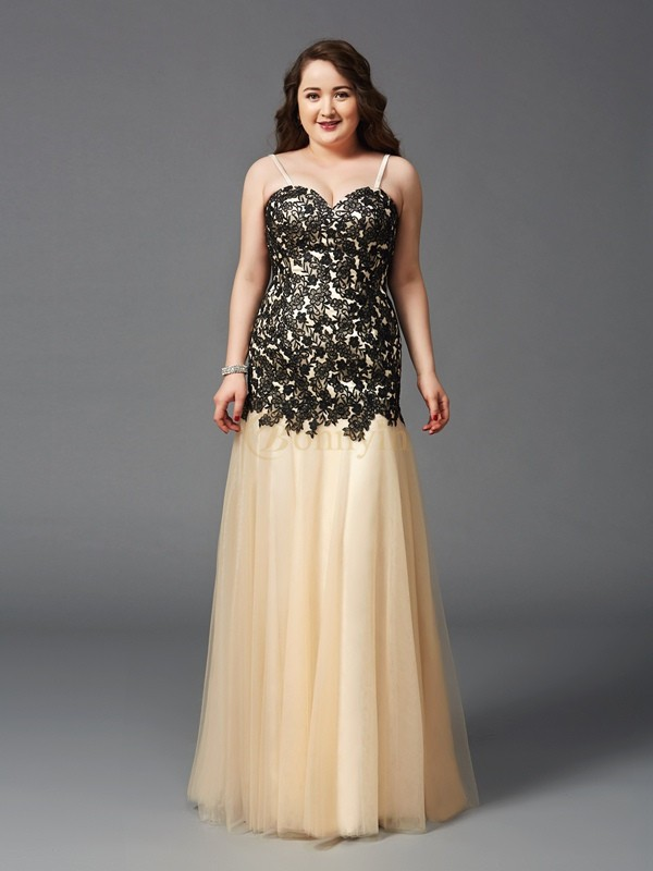 Black Net Spaghetti Straps Sheath/Column Floor-Length Prom Dresses