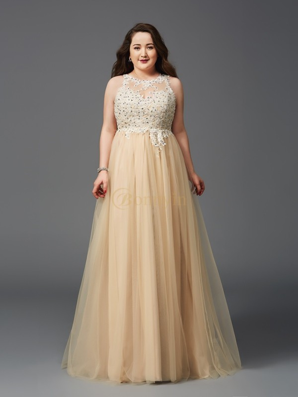 Champagne Net Scoop A-Line/Princess Floor-Length Prom Dresses
