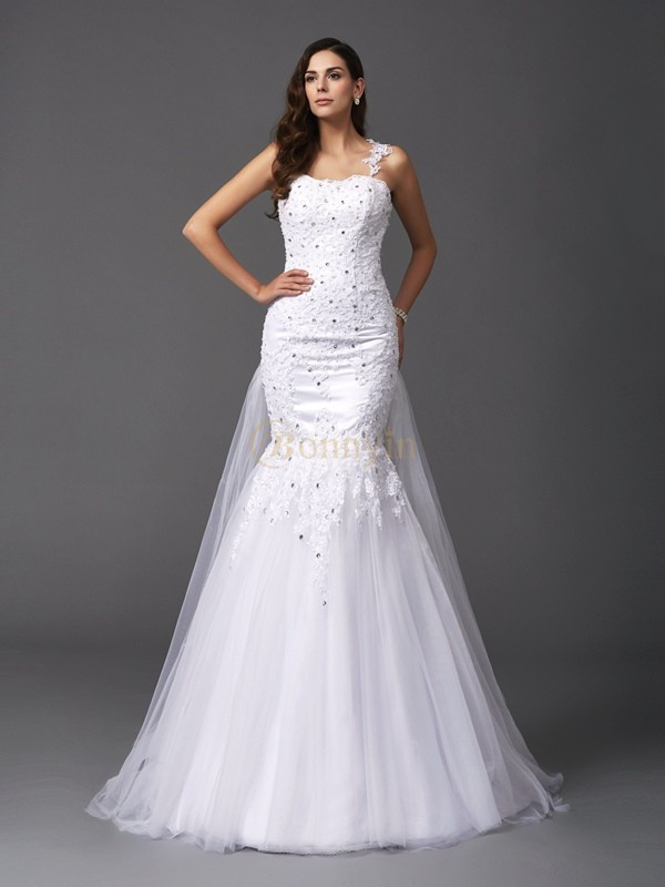 White Net Straps Trumpet/Mermaid Sweep/Brush Train Wedding Dresses
