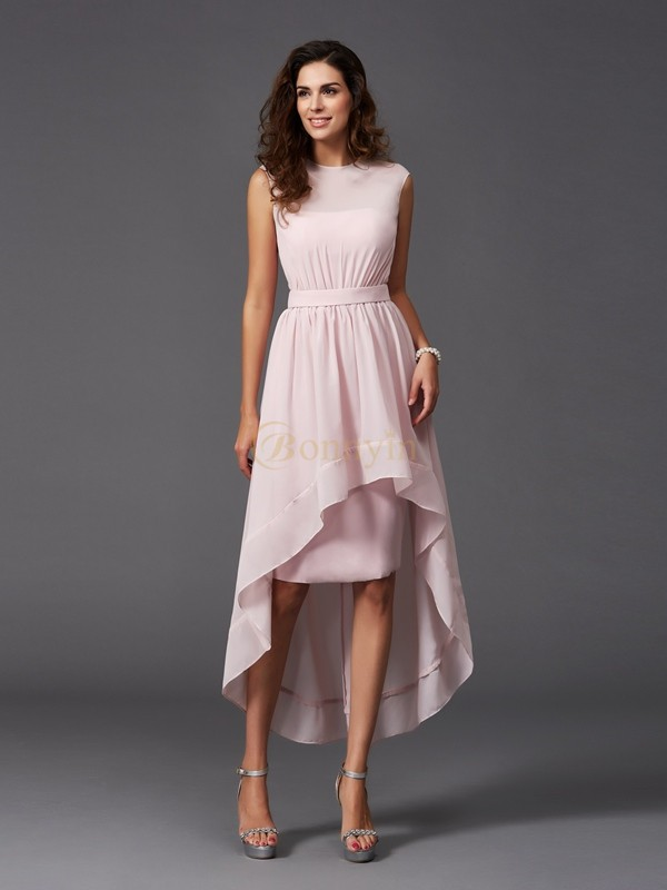 Pearl Pink Chiffon Scoop A-Line/Princess Asymmetrical Bridesmaid Dresses