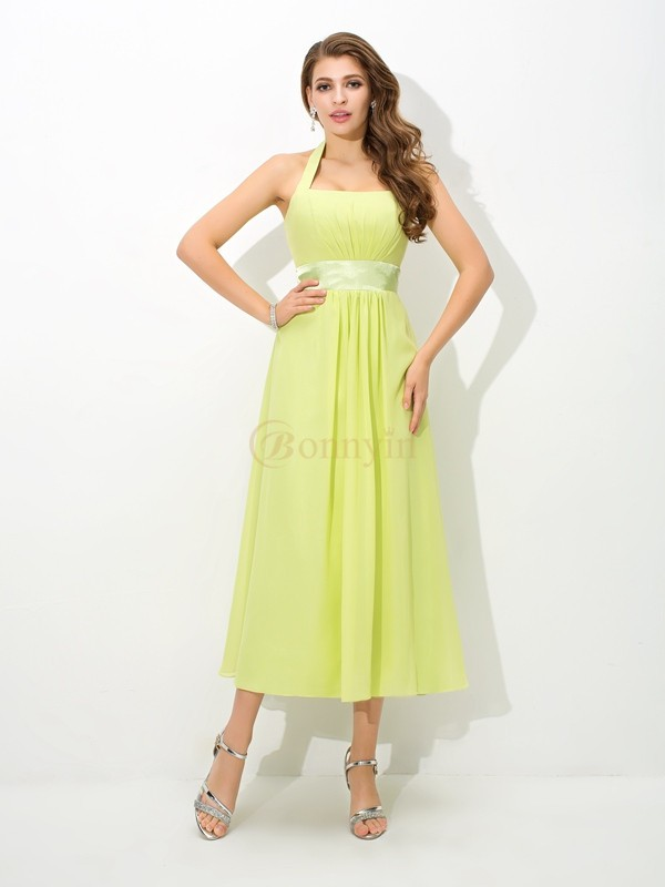 Sage Chiffon Halter A-Line/Princess Ankle-Length Bridesmaid Dresses