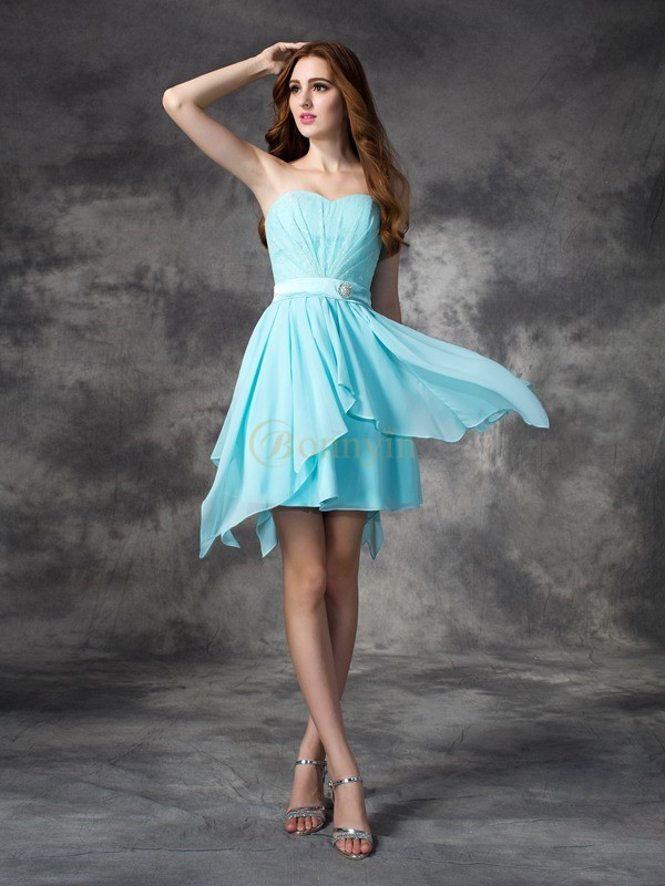Light Sky Blue Chiffon Sweetheart A-line/Princess Short/Mini Bridesmaid Dresses