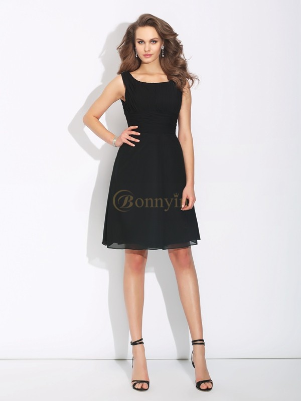Black Chiffon Scoop A-Line/Princess Short/Mini Cocktail Dresses