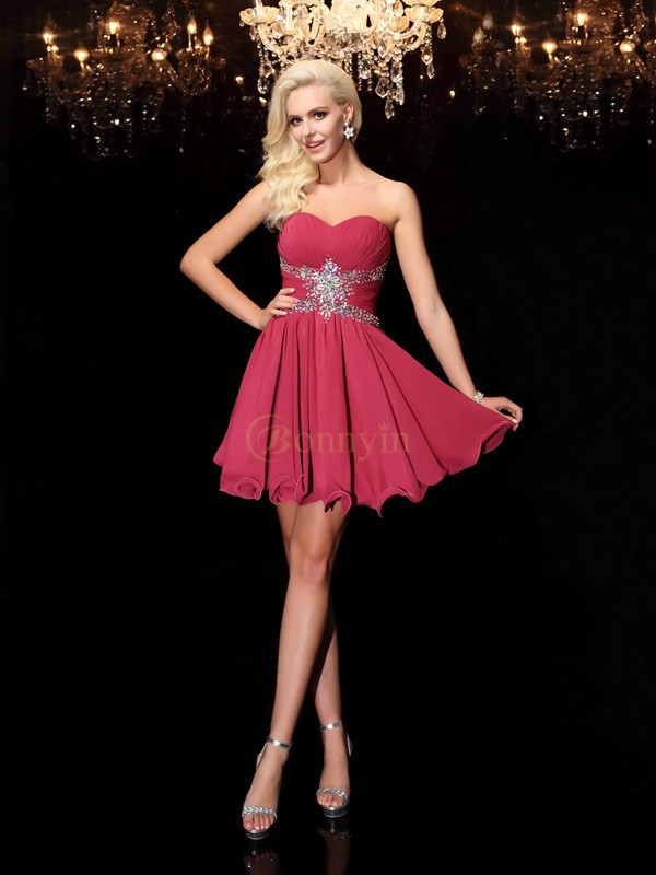 Burgundy Chiffon Sweetheart A-Line/Princess Short/Mini Cocktail Dresses