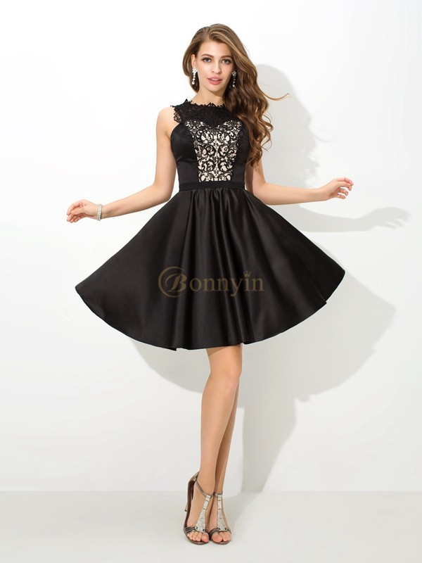 Black Satin Scoop A-Line/Princess Short/Mini Cocktail Dresses