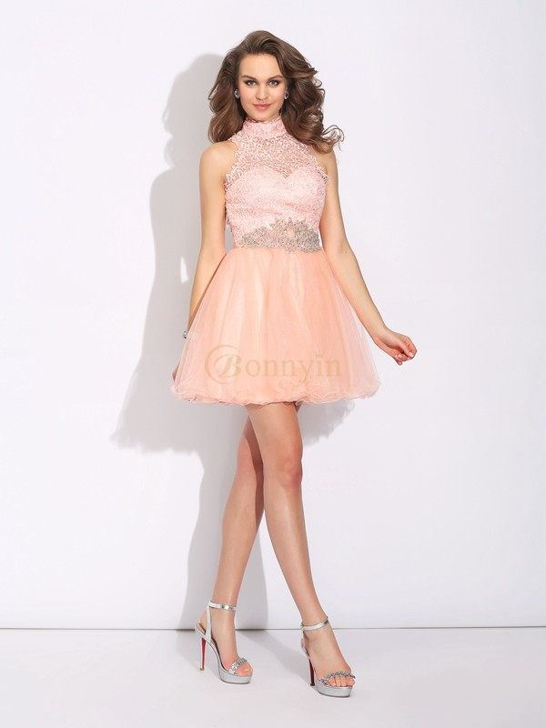 Pink Net High Neck A-Line/Princess Short/Mini Cocktail Dresses