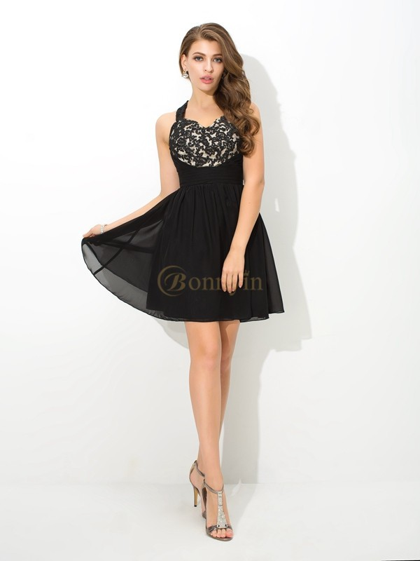 Black Chiffon Straps A-Line/Princess Short/Mini Cocktail Dresses