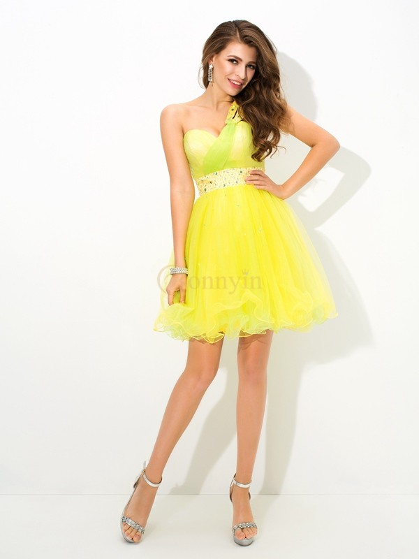 Yellow Net One-Shoulder A-Line/Princess Short/Mini Cocktail Dresses