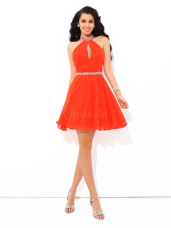 Orange Chiffon Halter A-Line/Princess Short/Mini Cocktail Dresses