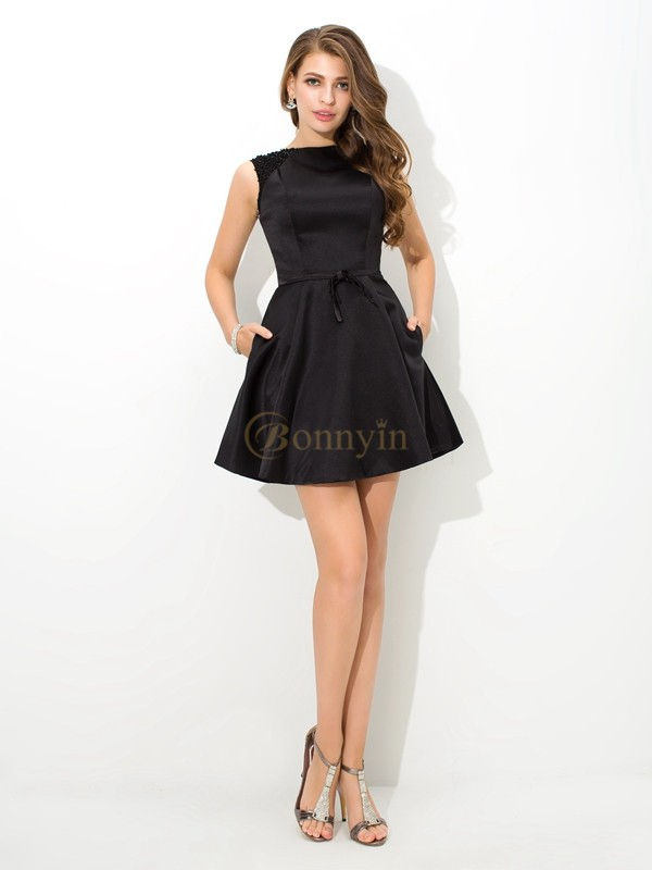 Black Satin High Neck A-Line/Princess Short/Mini Cocktail Dresses