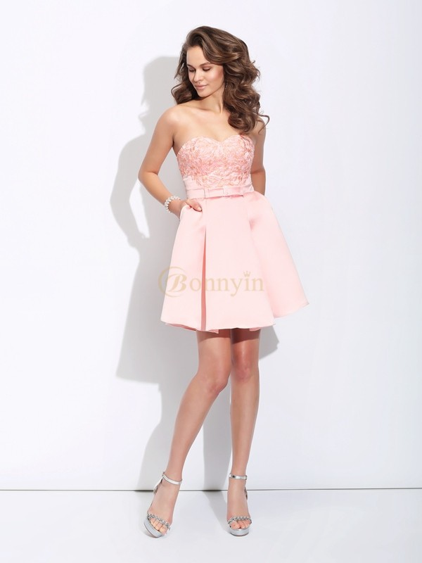 Pink Satin Sweetheart A-Line/Princess Short/Mini Cocktail Dresses