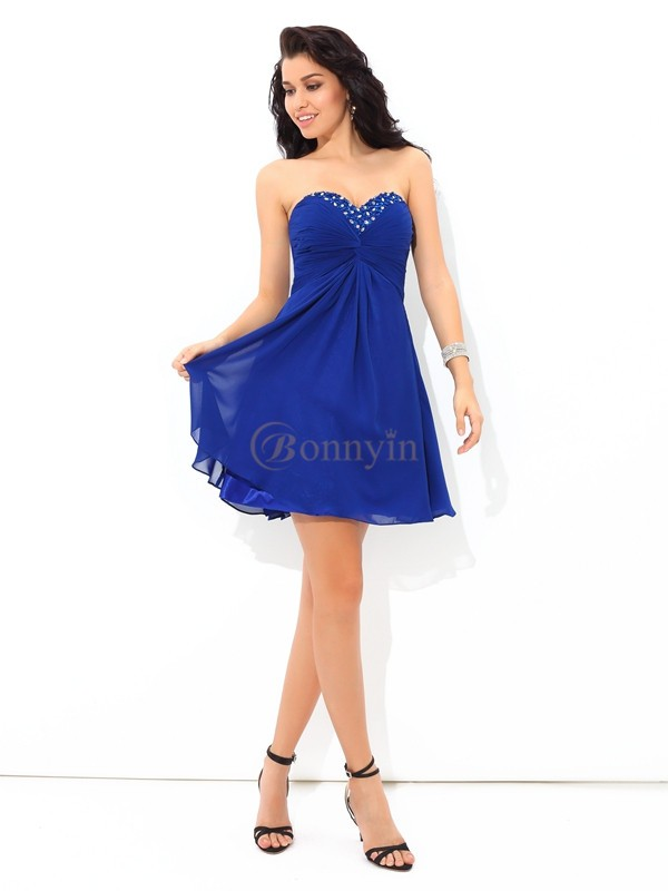 Royal Blue Chiffon Sweetheart A-Line/Princess Short/Mini Cocktail Dresses
