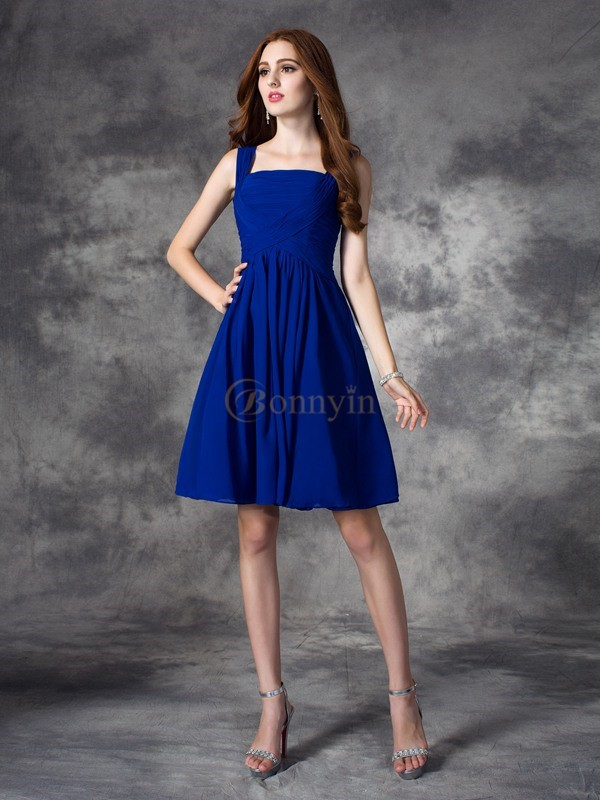 Royal Blue Chiffon Square A-line/Princess Floor-length Cocktail Dresses