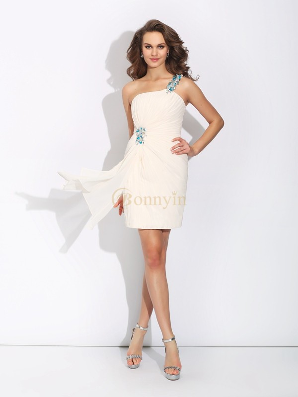 Ivory Chiffon One-Shoulder Sheath/Column Short/Mini Cocktail Dresses